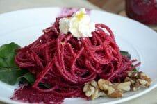 Spaghetti with Beet Pesto and Ricotta